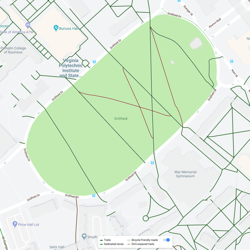 map of drillfield in full color, showing trails in black, dedicated lanes in green, and unpaved trails in brown