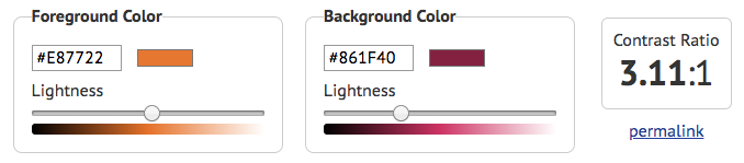 Screenshot of contrast checker showing text fields, color picker, and brightness sliders for specifying color as well as the calculated contrast ratio