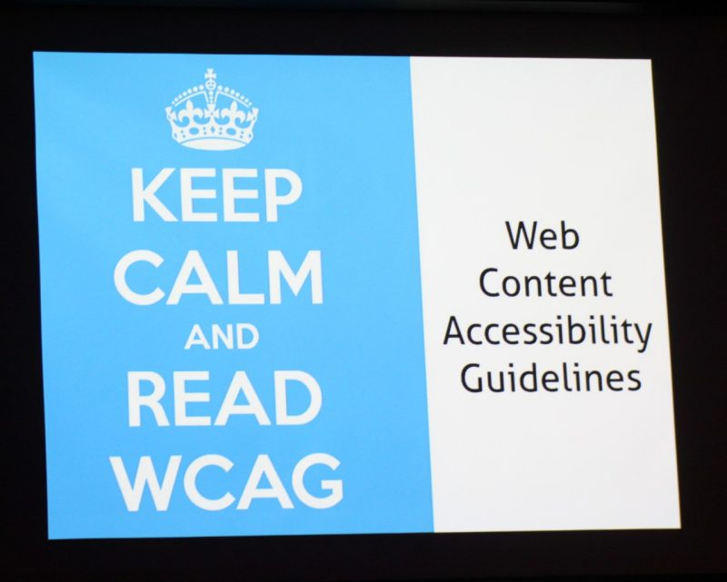 "Displayed on screen is a crown logo with text, ""Keep calm and read WCAG: Web Content Accessibility Guidelines"""